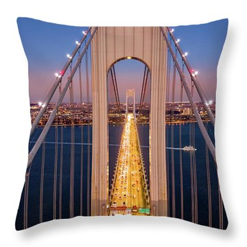 Throw Pillow featuring the photograph Aerial View Of Verrazzano Narrows Bridge by Mihai Andritoiu
