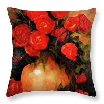 Antique Red Roses Throw Pillow