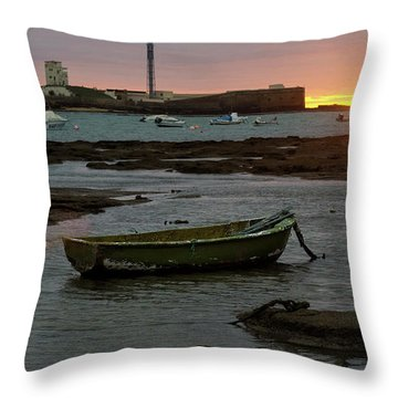 Throw Pillow featuring the photograph Beached Boats At Sunset Cadiz Spain by Pablo Avanzini