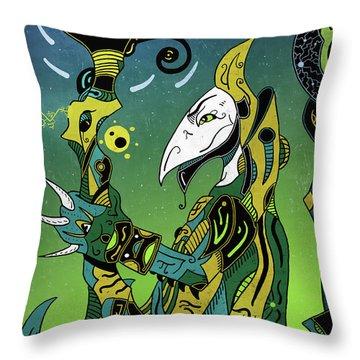 Throw Pillow featuring the digital art Birdman by Sotuland Art