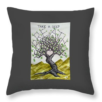 Throw Pillow featuring the drawing Breathe Love Tree by Aaron Bombalicki