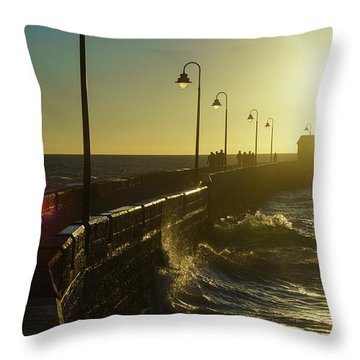 Throw Pillow featuring the photograph Caleta Walkway At Sunset Cadiz Spain by Pablo Avanzini