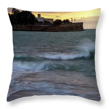 Throw Pillow featuring the photograph Candelaria Bulwark From Saint Philippe Cadiz Spain by Pablo Avanzini