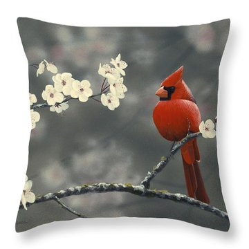 Cardinal And Blossoms Throw Pillow