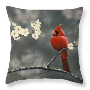 Cardinal And Blossoms Throw Pillow