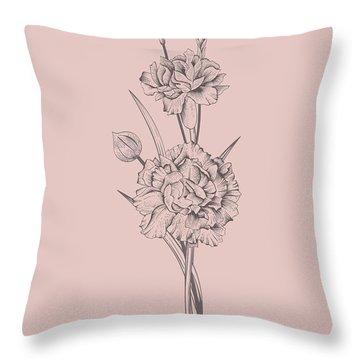 Carnation Blush Pink Flower Throw Pillow