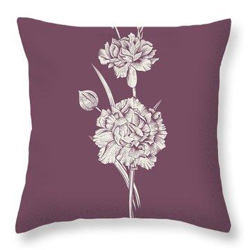 Carnation Purple Flower Throw Pillow