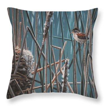 Cattail Hideaway Throw Pillow