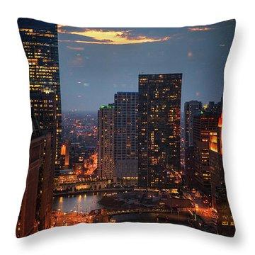 Chicago Sunset Throw Pillow