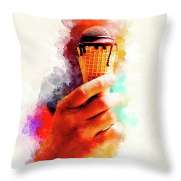 Chocolate Ice Cream In Woman Hand And Softly Blurred Watercolor Background. Throw Pillow