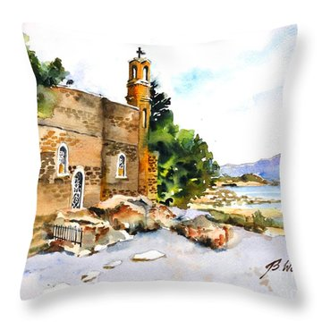 Church Of Primacy, Galilee Throw Pillow