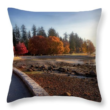 Colorful Autumn Foliage At Stanley Park Throw Pillow