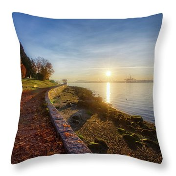 Colorful Autumn Sunrise At Stanley Park Throw Pillow