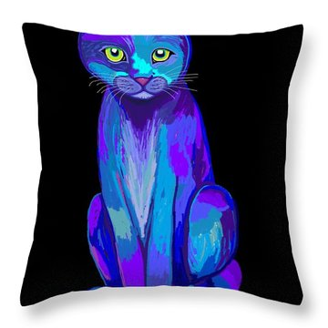 Colorful Calico Cat Throw Pillow