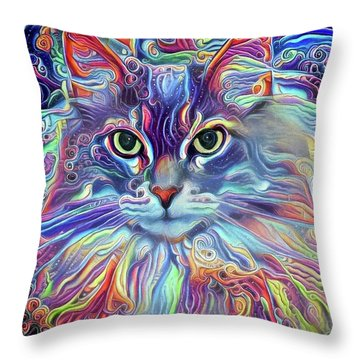 Colorful Long Haired Cat Art Throw Pillow