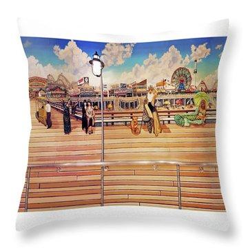 Coney Island Boardwalk Towel Version Throw Pillow
