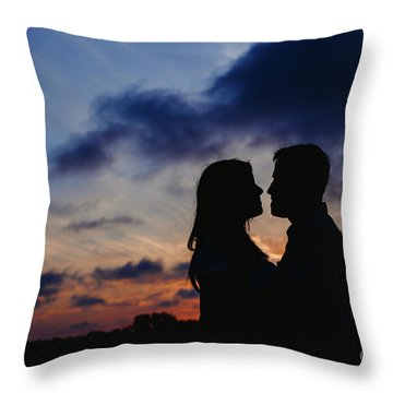 Couple With Cloud Sky Backlight Throw Pillow