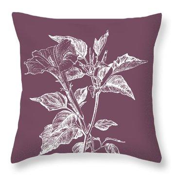 Datura Purple Flower Throw Pillow
