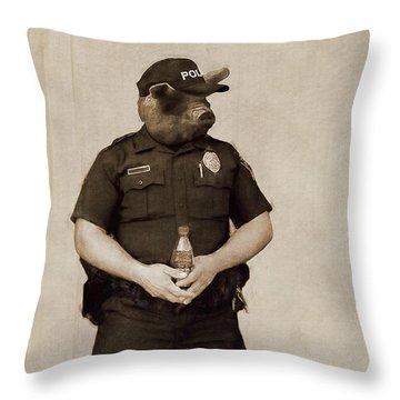 Desert Pig - A Satirical Portrait Throw Pillow