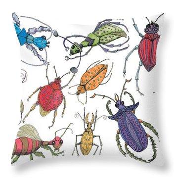 Doodle Bugs Throw Pillow