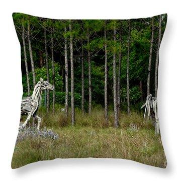 Driftwood Horses Throw Pillow