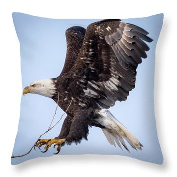 Throw Pillow featuring the photograph Eagle Coming In For A Landing by Ricky L Jones