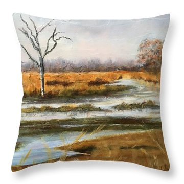 Early Spring On The Marsh Throw Pillow