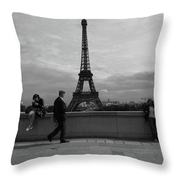 Throw Pillow featuring the photograph Eiffel Tower, Tourist by Edward Lee