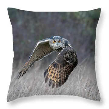 Eurasian Eagle Owl Flying Throw Pillow
