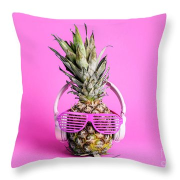 Fashionable  Trendy Pineapple Fruit With Headphones And Sun Glas Throw Pillow