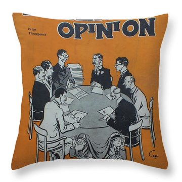 Throw Pillow featuring the painting Feb 1938 Dublin Opinion by Val Byrne