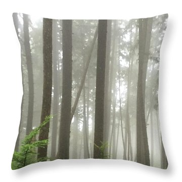 Foggy Forest Throw Pillow