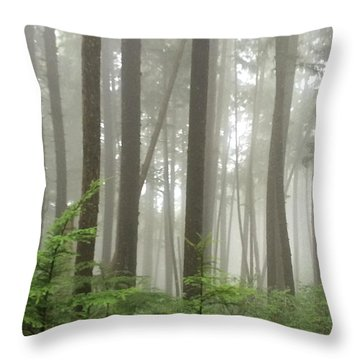 Throw Pillow featuring the photograph Foggy Forest by Karen Zuk Rosenblatt
