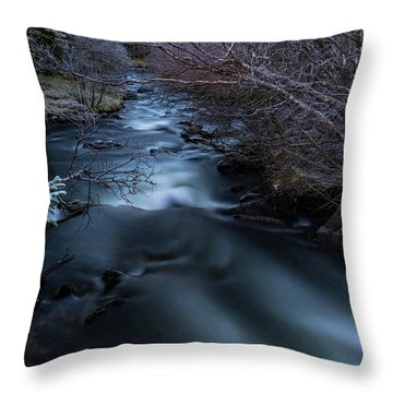 Frozen River And Winter In Forest. Long Exposure With Nd Filter Throw Pillow