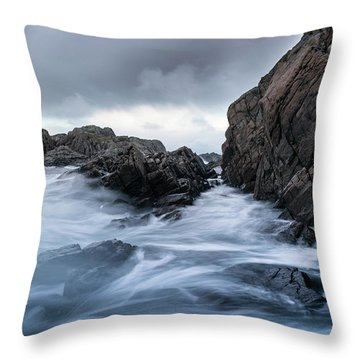 Frozen Stream In Winter Forest Throw Pillow