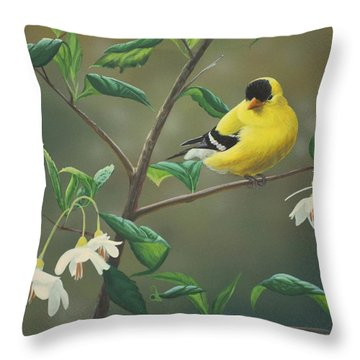 Goldfinch And Snowbells Throw Pillow