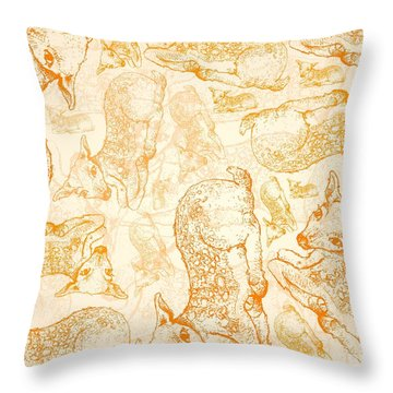 Hand Drawn Background Of Autumn Fawn Deers Throw Pillow