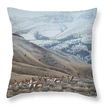 High Country Pronghorn Throw Pillow