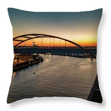 Throw Pillow featuring the photograph Hoan Bridge At Dusk by Randy Scherkenbach