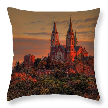 Holy Hill Sunrise Square Throw Pillow