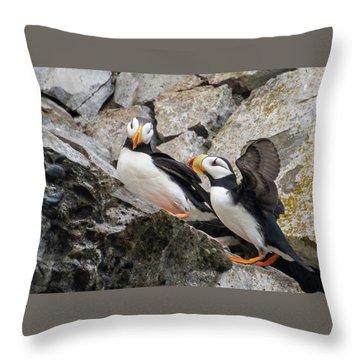 Horned Puffin Pair 2 Throw Pillow