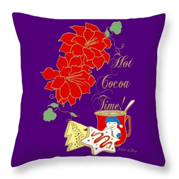 Throw Pillow featuring the mixed media Hot Cocoa Time by Belinda Landtroop