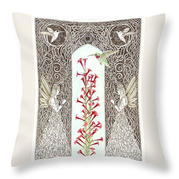 Hummingbird Sanctuary Throw Pillow