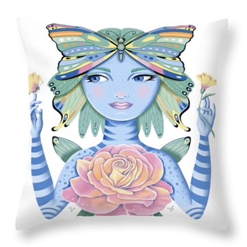 Insect Girl, Winga, With Rose Throw Pillow