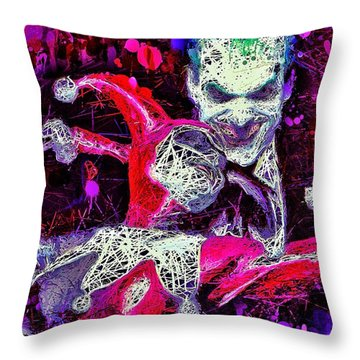 Throw Pillow featuring the mixed media Joker And Harley Quinn by Al Matra