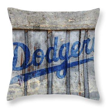 La Dodgers Rustic Throw Pillow