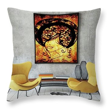 Lady Mystery Throw Pillow