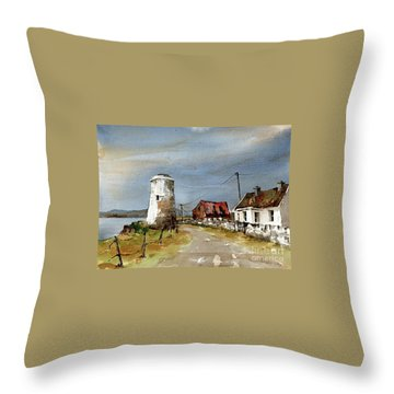 Throw Pillow featuring the painting Lighthouse On Inis Boffin, Galway by Val Byrne