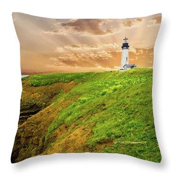 Lighthouse On  Yaquina Head  Throw Pillow