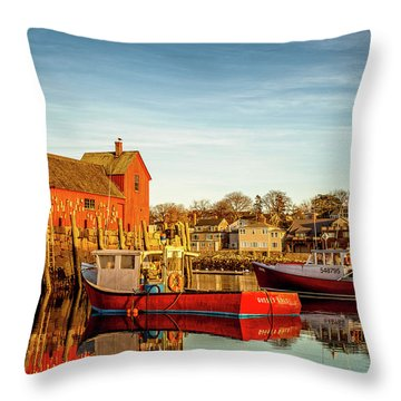 Low Tide And Lobster Boats At Motif #1 Throw Pillow